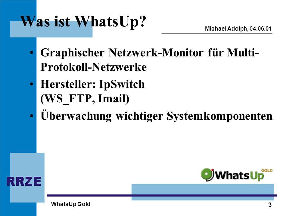 3 Michael Adolph, 04.06.01 WhatsUp Gold Was ist WhatsUp? Graphischer Netzwerk-Monitor für Multi- Protokoll-Netzwerke Hersteller: IpSwitch (WS_FTP, Ima