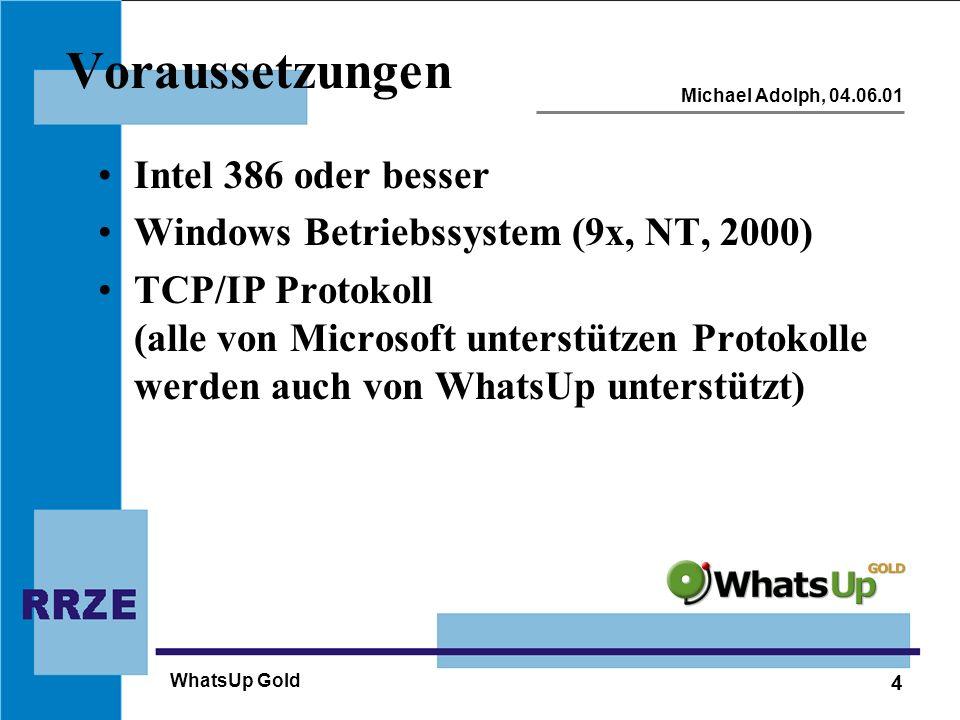 4 Michael Adolph, 04.06.01 WhatsUp Gold Voraussetzungen Intel 386 oder besser Windows Betriebssystem (9x, NT, 2000) TCP/IP Protokoll (alle von Microso