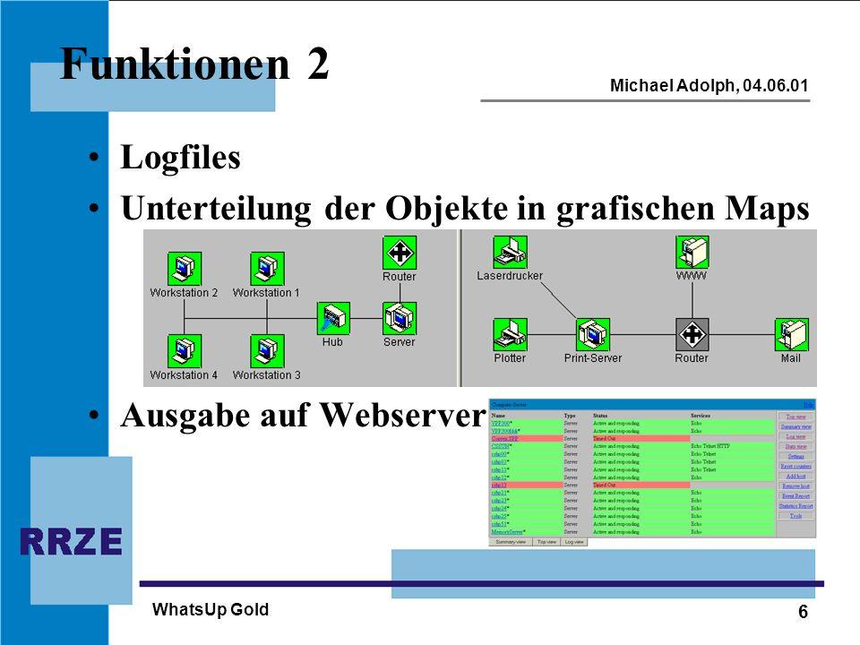 6 Michael Adolph, 04.06.01 WhatsUp Gold Funktionen 2 Logfiles Unterteilung der Objekte in grafischen Maps Ausgabe auf Webserver