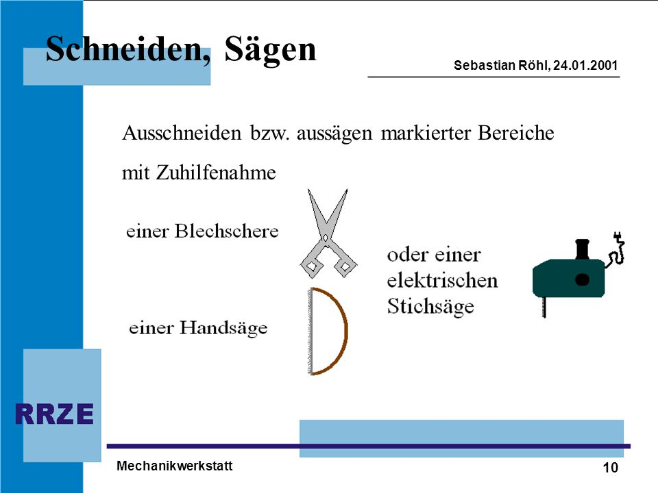 10 Sebastian Röhl, 24.01.2001 Mechanikwerkstatt Schneiden, Sägen Ausschneiden bzw. aussägen markierter Bereiche mit Zuhilfenahme