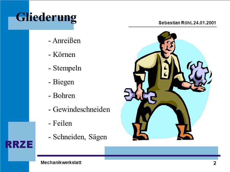2 Sebastian Röhl, 24.01.2001 Mechanikwerkstatt Gliederung - Anreißen - Körnen - Stempeln - Biegen - Bohren - Gewindeschneiden - Feilen - Schneiden, Sä