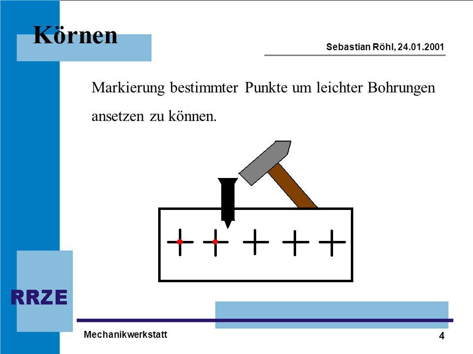 4 Sebastian Röhl, 24.01.2001 Mechanikwerkstatt Körnen Markierung bestimmter Punkte um leichter Bohrungen ansetzen zu können.