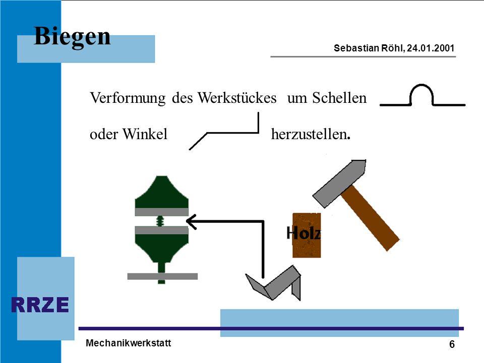 6 Sebastian Röhl, 24.01.2001 Mechanikwerkstatt Biegen Verformung des Werkstückesum Schellen oder Winkelherzustellen.