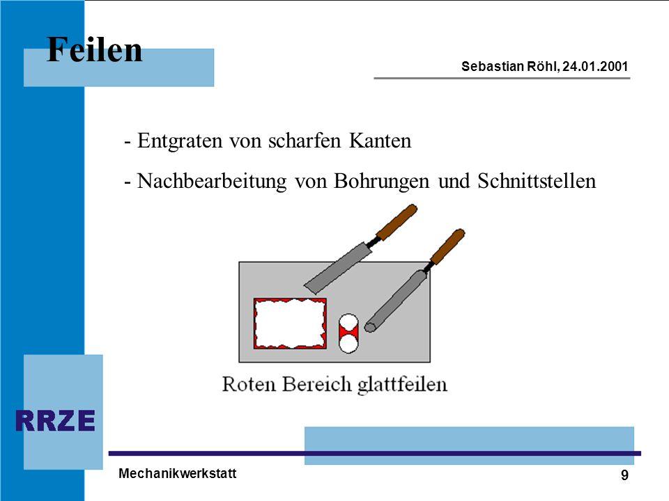 9 Sebastian Röhl, 24.01.2001 Mechanikwerkstatt Feilen - Entgraten von scharfen Kanten - Nachbearbeitung von Bohrungen und Schnittstellen