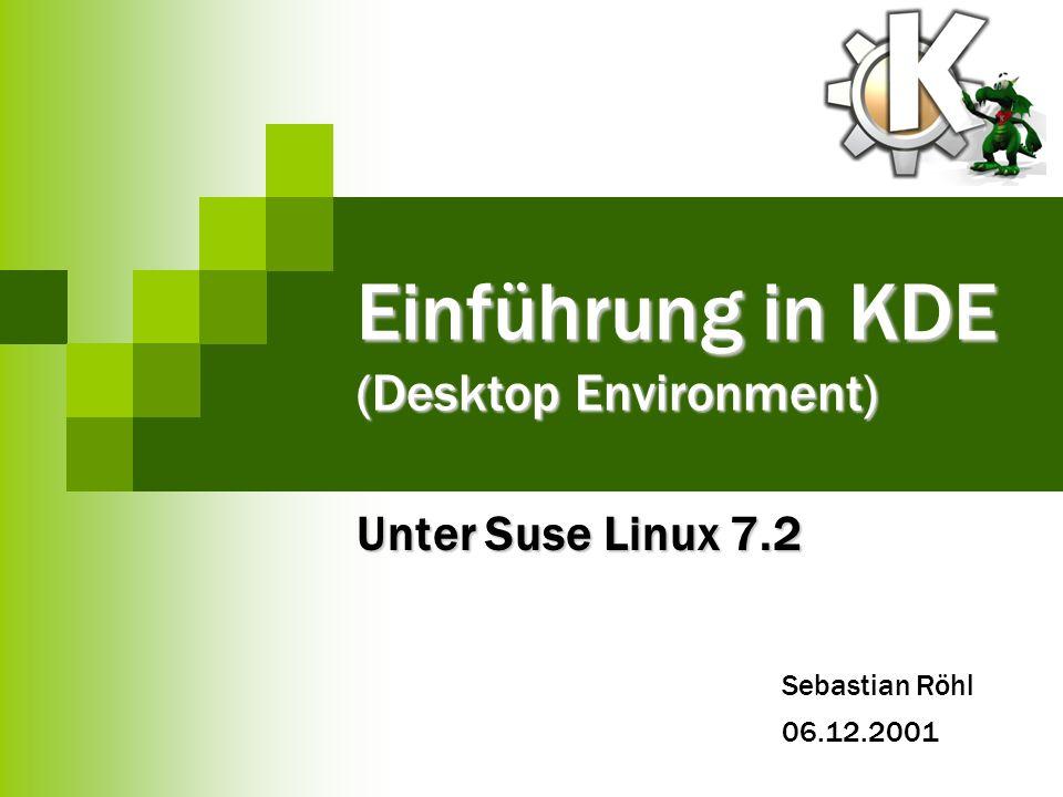 12 Einführung in KDE Sebastian Röhl 06.12.2001 Quellen SUSE Linux Handbücher SUSE Linux Handbücher Linux – Universität Hannover Linux – Universität Hannover http://www.kde.org/ http://www.kde.org/ http://www.kde.de/ http://www.kde.de/ K Desktop Evironment – Universität Paderporn K Desktop Evironment – Universität Paderporn
