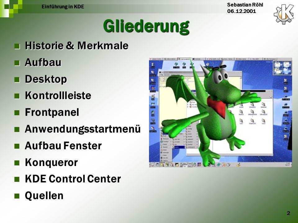 2 Einführung in KDE Sebastian Röhl 06.12.2001 Gliederung Historie & Merkmale Historie & Merkmale Aufbau Aufbau Desktop Desktop Kontrollleiste Kontroll