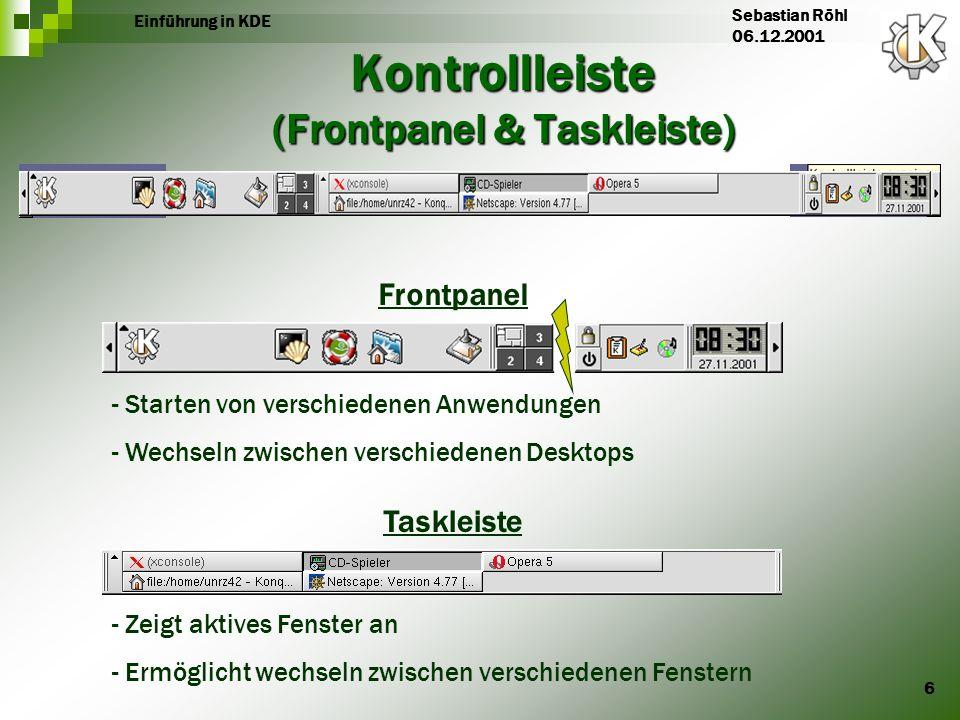 7 Einführung in KDE Sebastian Röhl 06.12.2001 Standartfunktionen des Frontpanels Anwendungsstartmenü Terminal-Emulation SuSE-Hilfe Homeverzeichnis Desktop anzeigen Desktop wechseln Desktop sperren Abmelden Datum - Uhrzeit Notizblock