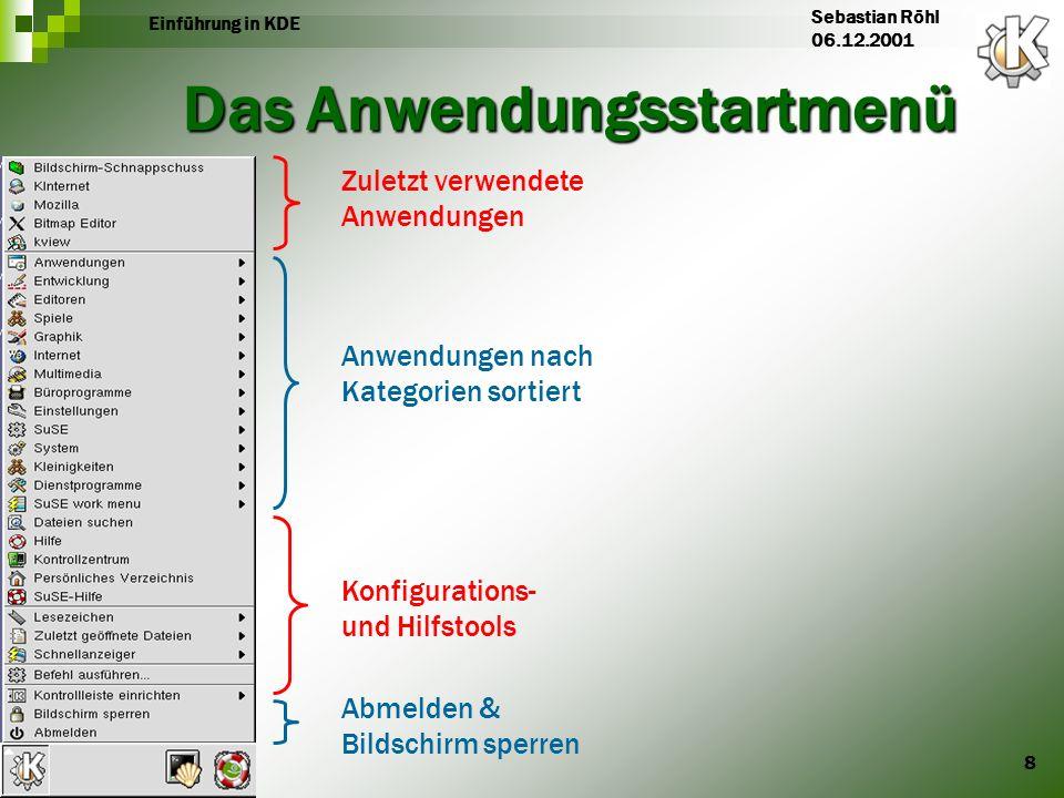 8 Einführung in KDE Sebastian Röhl 06.12.2001 Das Anwendungsstartmenü Zuletzt verwendete Anwendungen Anwendungen nach Kategorien sortiert Konfiguratio
