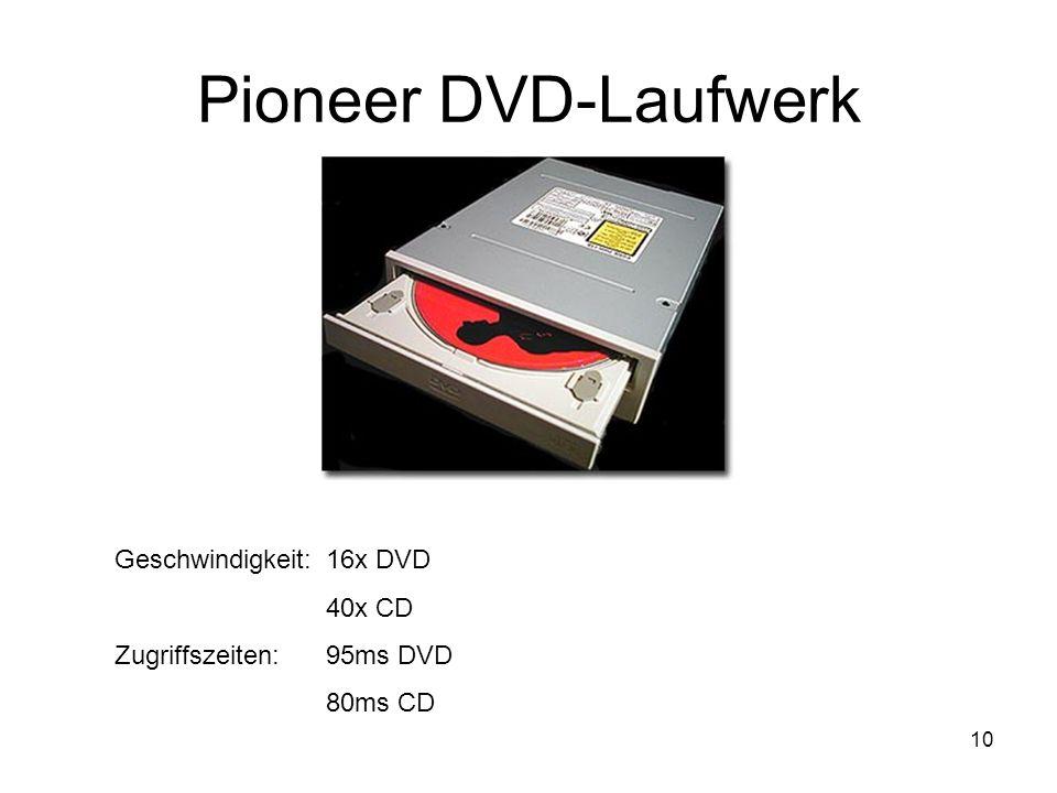 10 Pioneer DVD-Laufwerk Geschwindigkeit:16x DVD 40x CD Zugriffszeiten: 95ms DVD 80ms CD