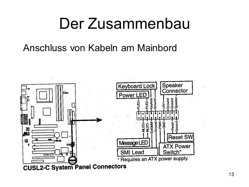 13 Der Zusammenbau Anschluss von Kabeln am Mainbord