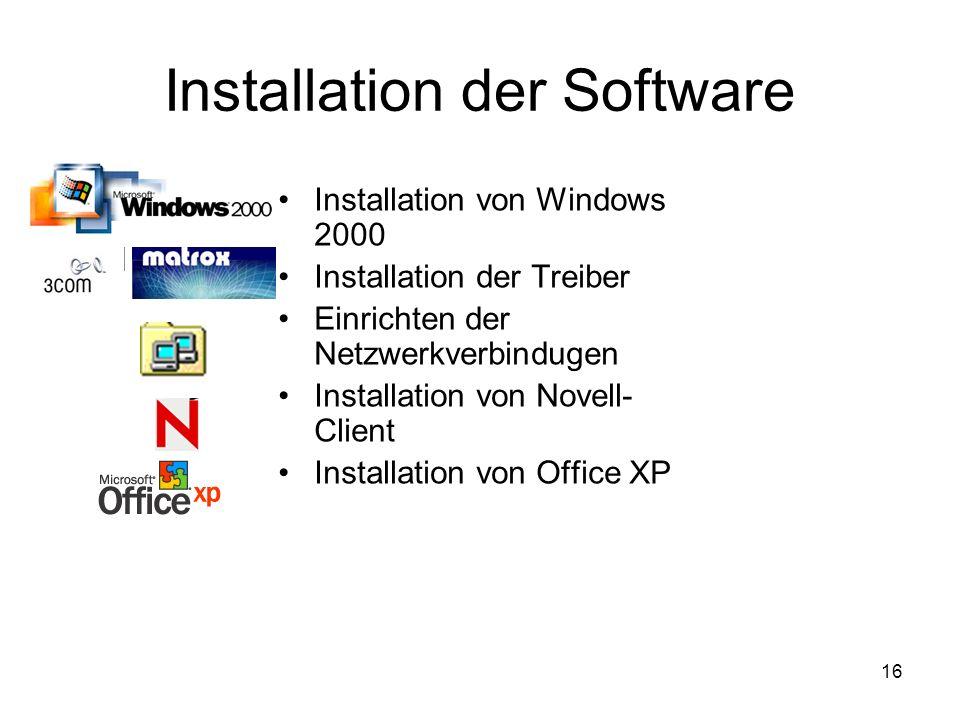 16 Installation der Software Installation von Windows 2000 Installation der Treiber Einrichten der Netzwerkverbindugen Installation von Novell- Client Installation von Office XP