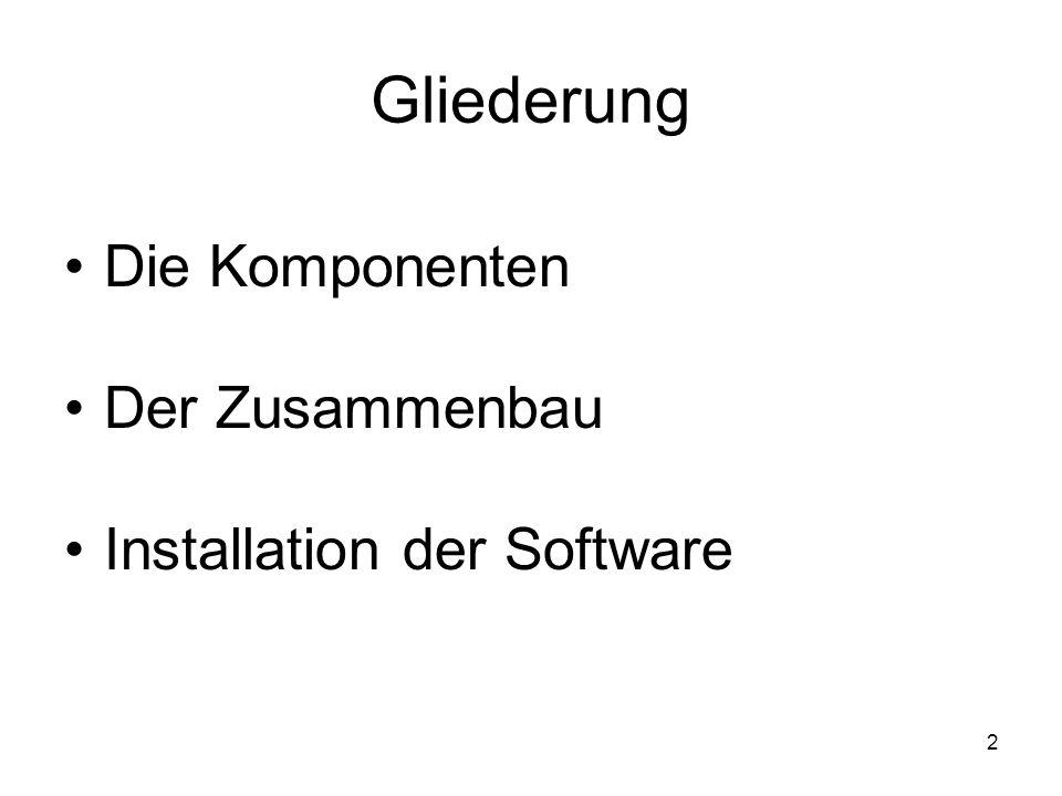 2 Gliederung Die Komponenten Der Zusammenbau Installation der Software