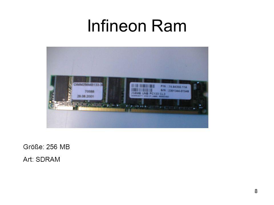 9 Festplatte Größe: 20 GB Übertragungsrate: UDMA 100 Umdrehungszahl: 5400 U/min Cache: 512 KB