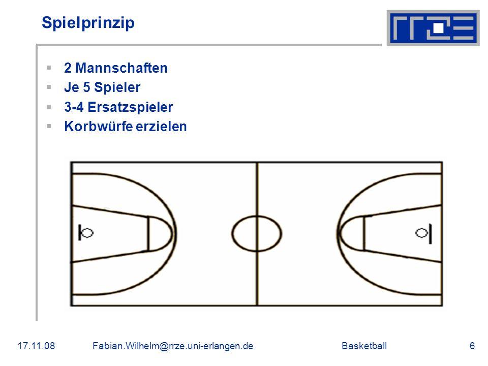 Basketball17.11.08Fabian.Wilhelm@rrze.uni-erlangen.de7 Verteidigungs- und Angriffsmöglichkeiten Verteidigungsmöglichkeiten: -Zonenverteidigung -Mannverteidigung Angriffsmöglichkeiten: -Aufbauspieler -Manndeckung