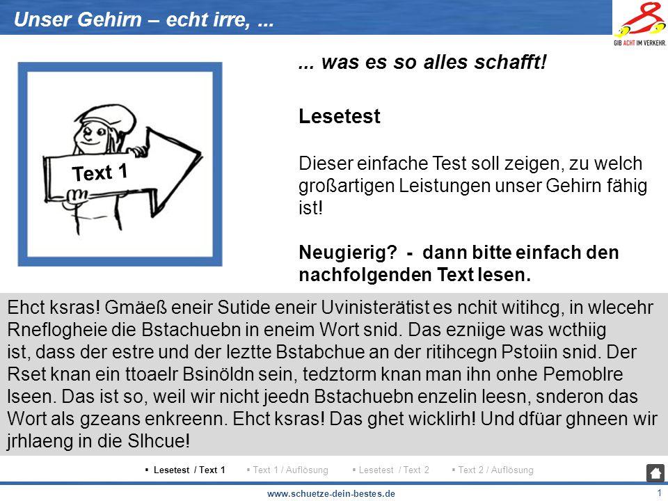 www.schuetze-dein-bestes.de 2 Unser Gehirn – echt irre,......
