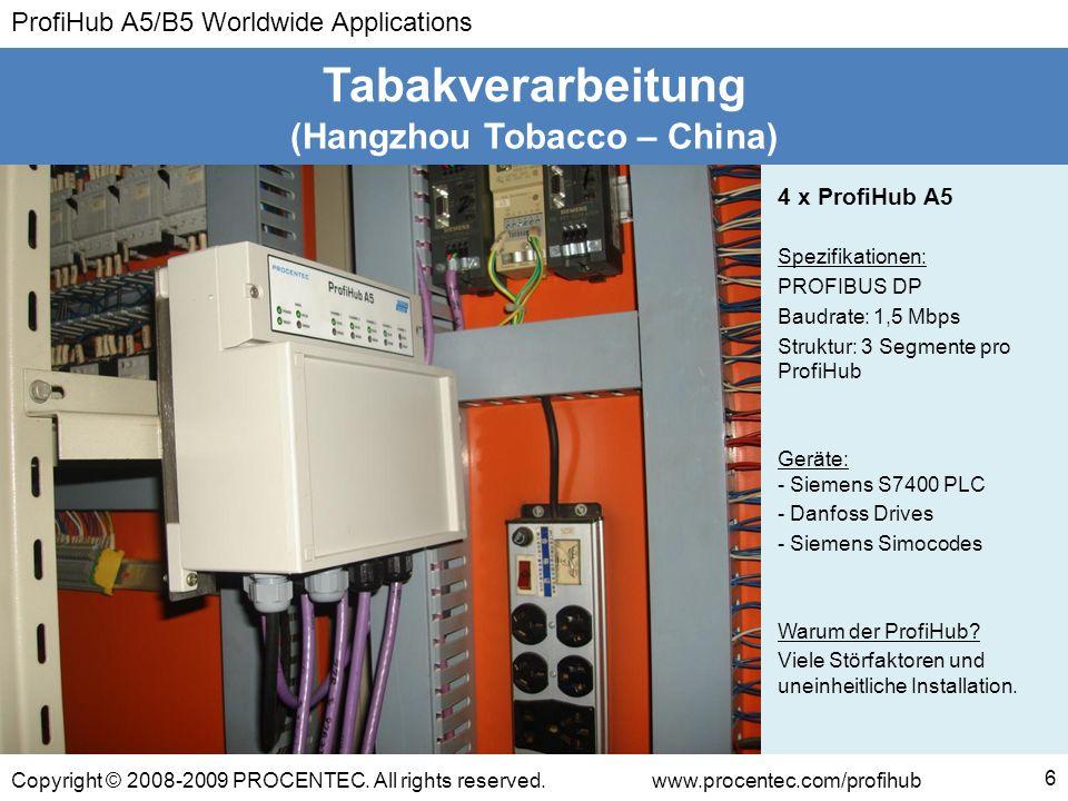 ProfiHub A5/B5 Worldwide Applications Copyright © 2008-2009 PROCENTEC. All rights reserved.www.procentec.com/profihub (Hangzhou Tobacco – China) Tabak