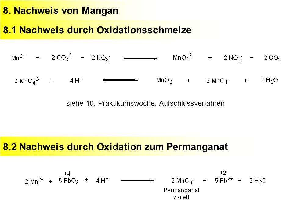 8. Nachweis von Mangan8.1 Nachweis durch Oxidationsschmelze siehe 10. Praktikumswoche: Aufschlussverfahren 8.2 Nachweis durch Oxidation zum Permangana