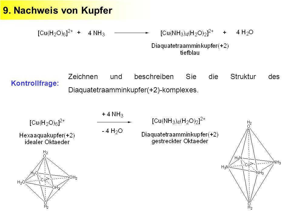 9. Nachweis von Kupfer Kontrollfrage: Zeichnen und beschreiben Sie die Struktur des Diaquatetraamminkupfer(+2)-komplexes.