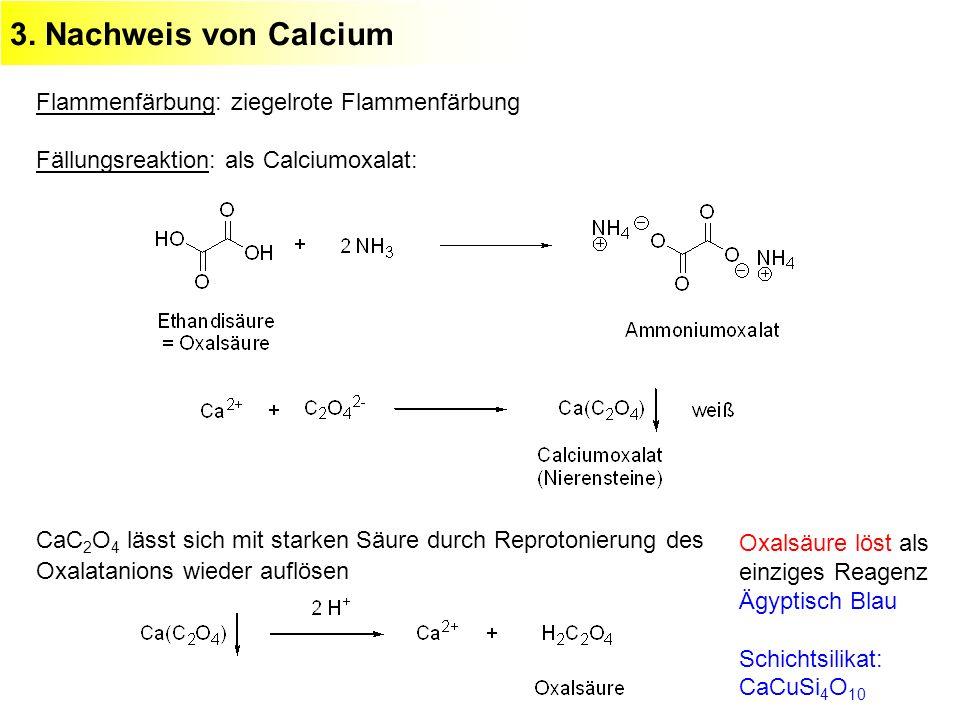 3. Nachweis von Calcium Flammenfärbung: ziegelrote Flammenfärbung Fällungsreaktion: als Calciumoxalat: CaC 2 O 4 lässt sich mit starken Säure durch Re