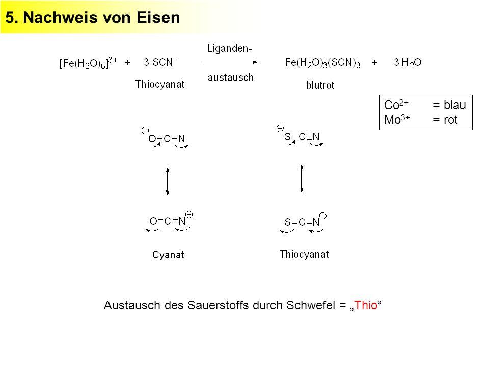 5. Nachweis von Eisen Austausch des Sauerstoffs durch Schwefel = Thio Co 2+ = blau Mo 3+ = rot