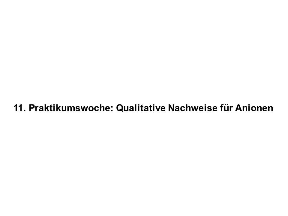 11. Praktikumswoche: Qualitative Nachweise für Anionen