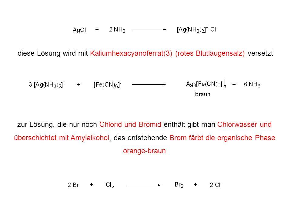 diese Lösung wird mit Kaliumhexacyanoferrat(3) (rotes Blutlaugensalz) versetzt zur Lösung, die nur noch Chlorid und Bromid enthält gibt man Chlorwasse