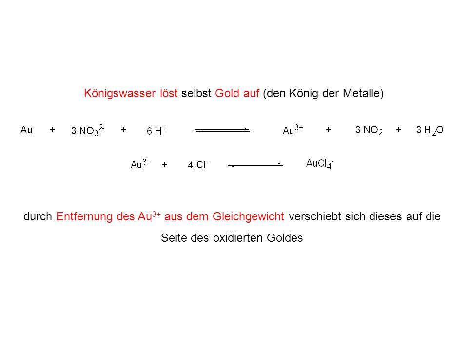 Königswasser löst selbst Gold auf (den König der Metalle) durch Entfernung des Au 3+ aus dem Gleichgewicht verschiebt sich dieses auf die Seite des ox