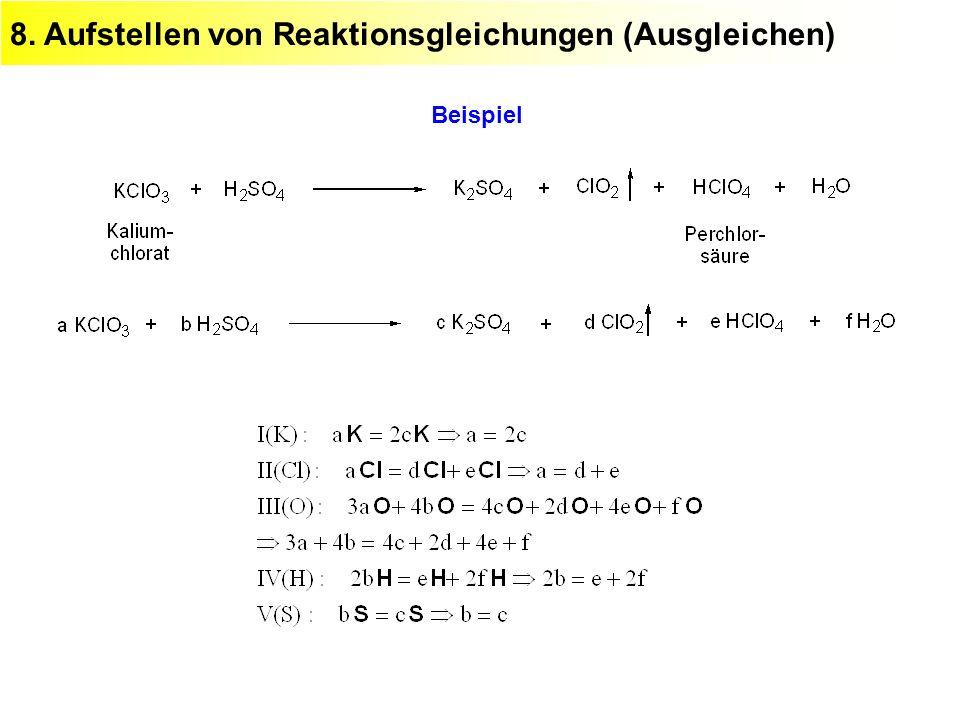 8. Aufstellen von Reaktionsgleichungen (Ausgleichen) Beispiel