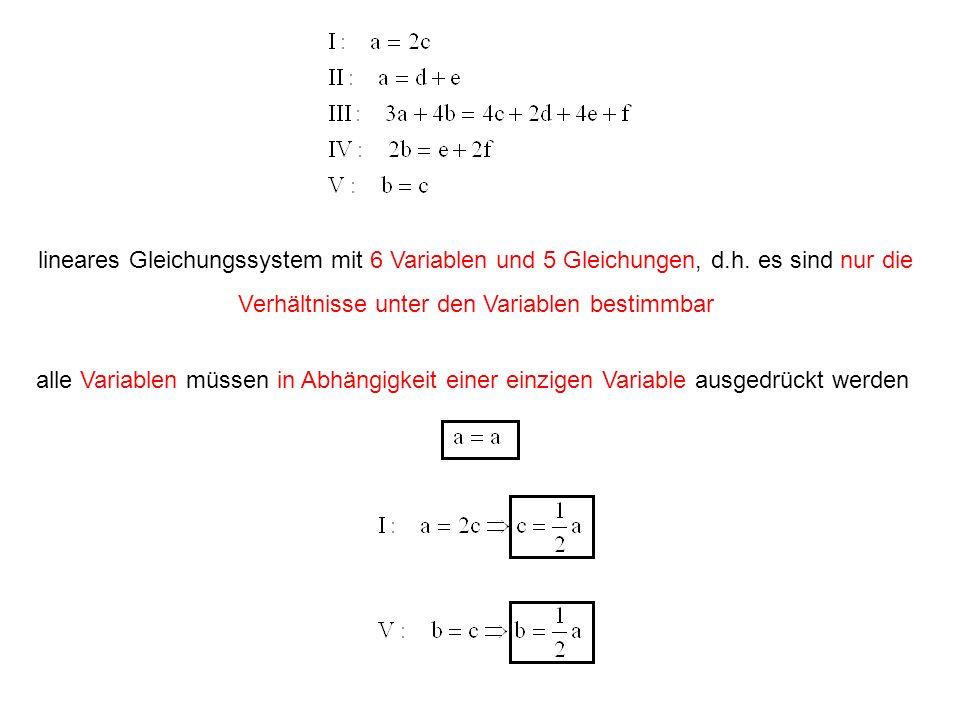 lineares Gleichungssystem mit 6 Variablen und 5 Gleichungen, d.h. es sind nur die Verhältnisse unter den Variablen bestimmbar alle Variablen müssen in