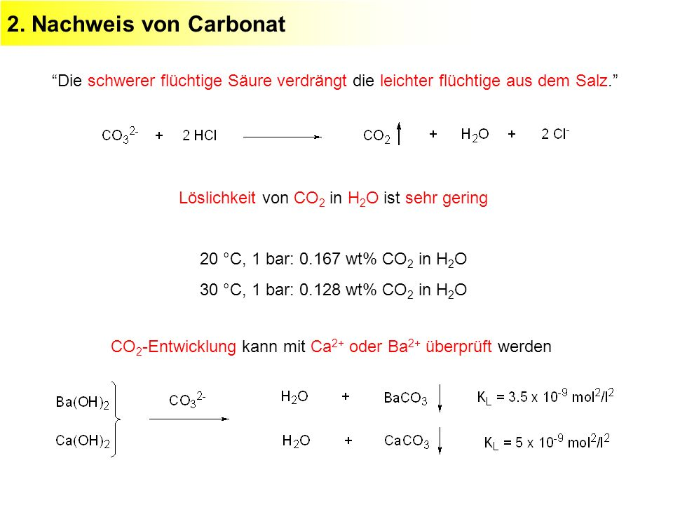 2. Nachweis von Carbonat Die schwerer flüchtige Säure verdrängt die leichter flüchtige aus dem Salz. Löslichkeit von CO 2 in H 2 O ist sehr gering 20