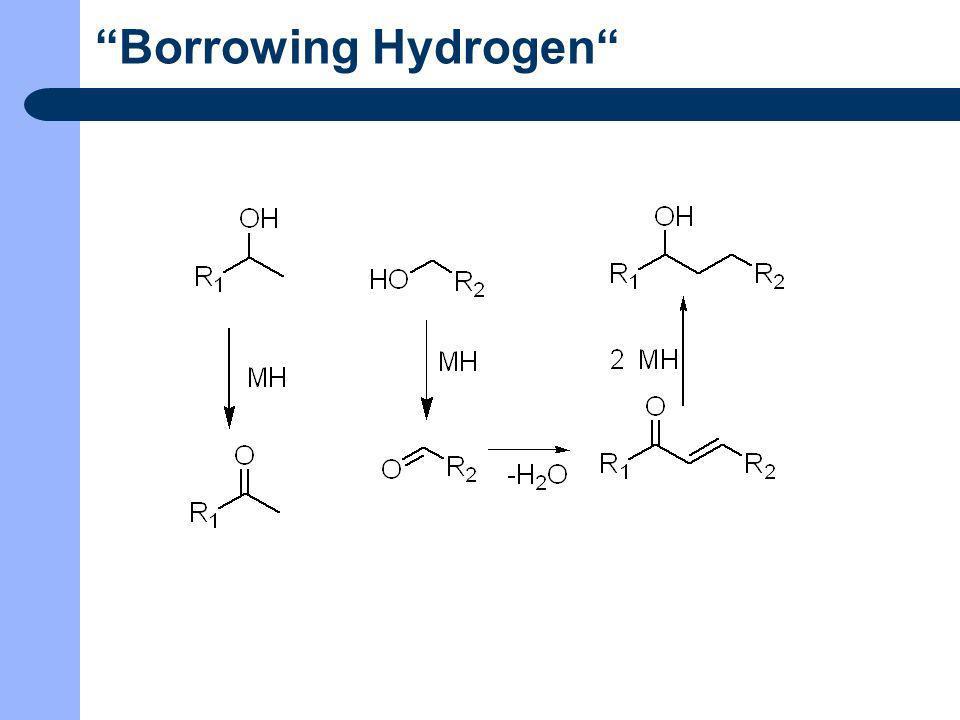 C-C Verknüpfungsreaktionen Verknüpfung von Ketonen und Alkoholen Reaktionsbedingungen: 1mmol Keton 1mmol KOH Dioxan 80°C 40h Ethylendiamin 2,5mol% RuCl 2 (PPh 3 ) 3