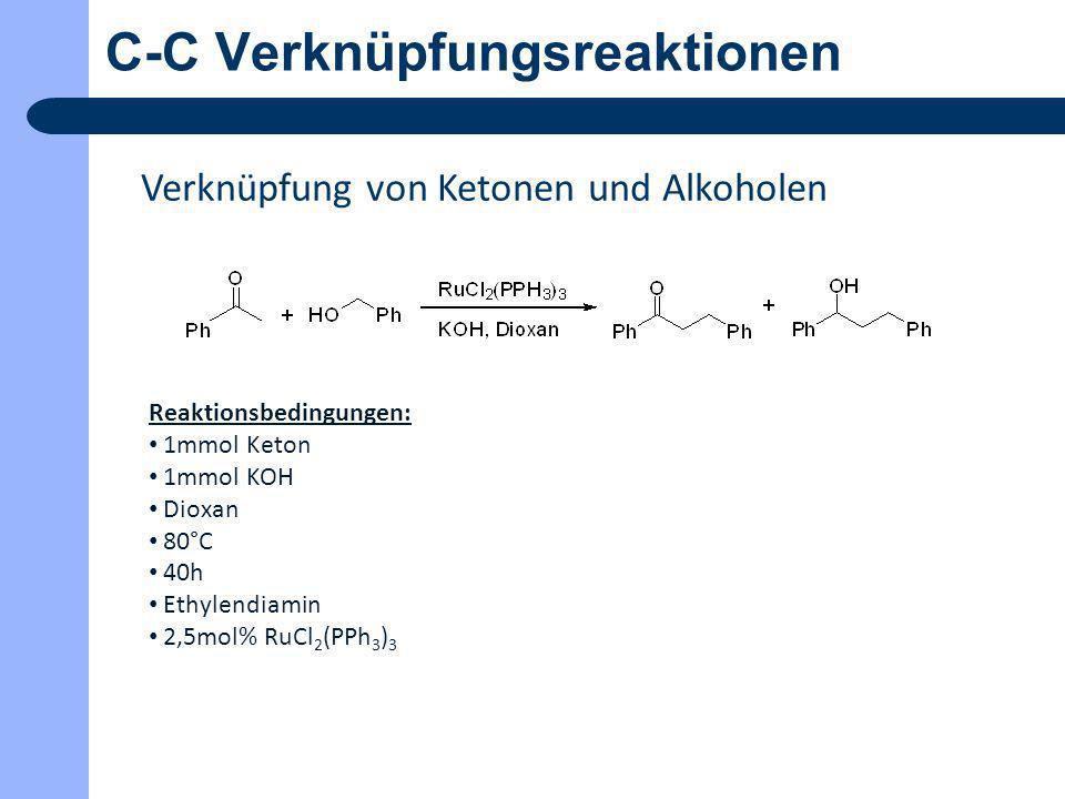 C-C Verknüpfungsreaktionen Verknüpfung von Ketonen und Alkoholen Reaktionsbedingungen: 1mmol Keton 1mmol KOH Dioxan 80°C 40h Ethylendiamin 2,5mol% RuC