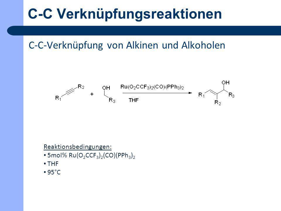 C-C Verknüpfungsreaktionen C-C-Verknüpfung von Benzylalkoholen und Alkinen Reaktionsbedingungen: 5mol% Fe(OTf) 3 10mol% CF 3 CO 2 H DCE 110°C 24h