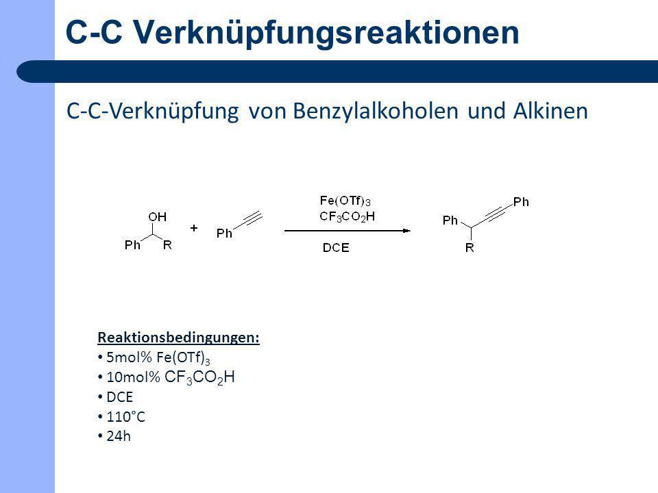 C-C Verknüpfungsreaktionen C-C-Verknüpfung von primären und sekundären Alkoholen Reaktionsbedingungen: 4mol% Ag/Al 2 O 3-5 20mol% Cs 2 CO 3 115°C 48h