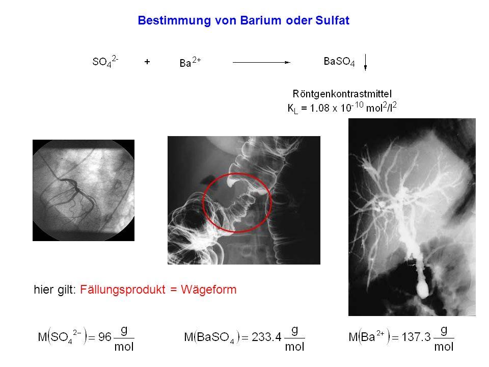Sulfatbestimmung Bariumbestimmung SO 4 2- -Lösung BaSO 4 Ba 2+ SO 4 2- Ba 2+ -Lösung BaSO 4 analytischer Faktor rel.