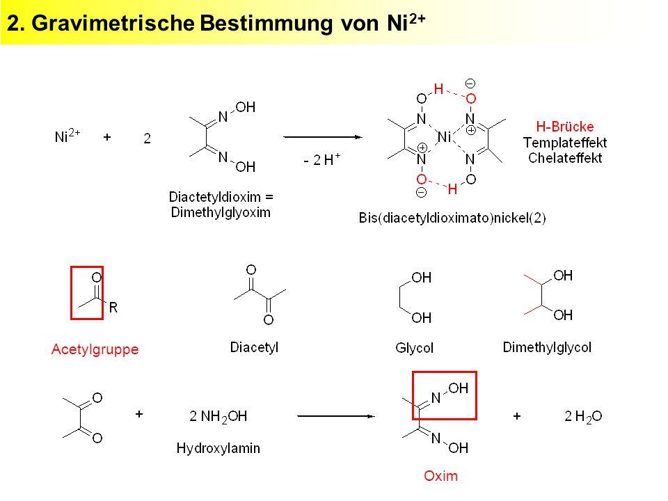 2. Gravimetrische Bestimmung von Ni 2+ Acetylgruppe Oxim