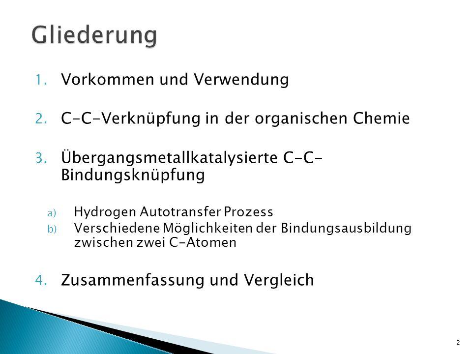 1. Vorkommen und Verwendung 2. C-C-Verknüpfung in der organischen Chemie 3. Übergangsmetallkatalysierte C-C- Bindungsknüpfung a) Hydrogen Autotransfer