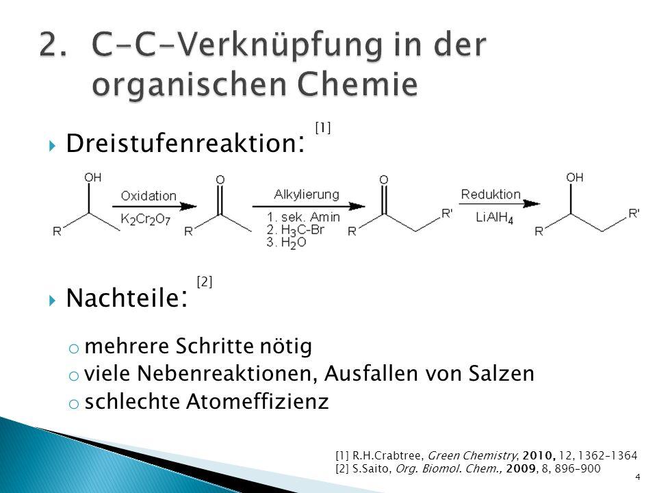 Dreistufenreaktion : Nachteile : o mehrere Schritte nötig o viele Nebenreaktionen, Ausfallen von Salzen o schlechte Atomeffizienz 4 [1] R.H.Crabtree,