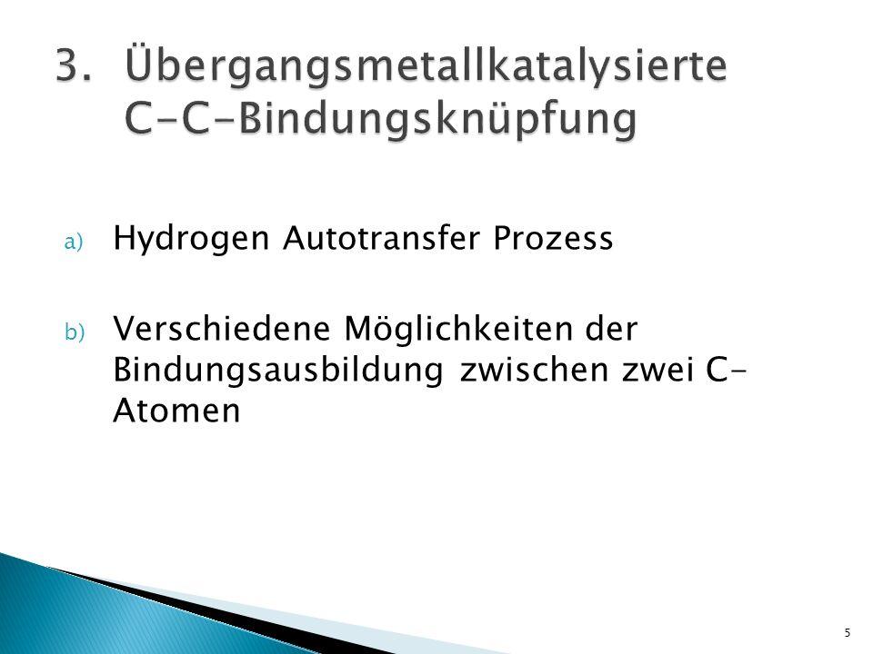 a) Hydrogen Autotransfer Prozess b) Verschiedene Möglichkeiten der Bindungsausbildung zwischen zwei C- Atomen 5