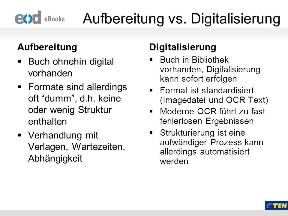 Aufbereitung vs. Digitalisierung Aufbereitung Buch ohnehin digital vorhanden Formate sind allerdings oft dumm, d.h. keine oder wenig Struktur enthalte