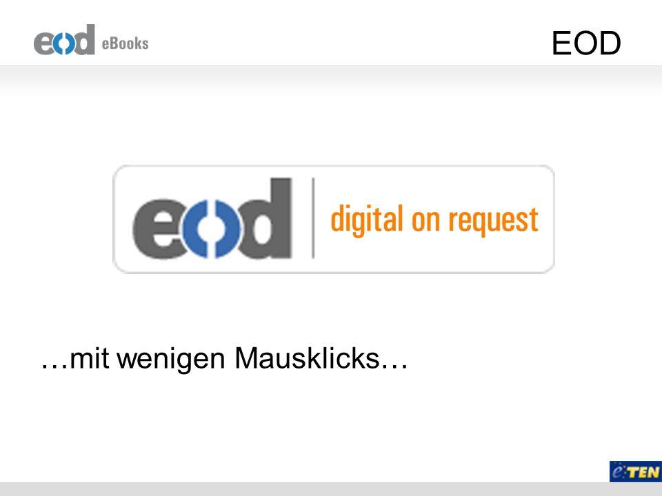 Repositorium Vorteile –DAISY eBooks wären ohnehin im EOD Netzwerk zentral vorhanden, Metadaten ebenfalls –Zentraler Nachweis sehr einfach möglich und könnte direkt in den Bibliothekskatalogen erfolgen –Weiterleitung an Europeana.eu und andere Nachweisinstrumente Funktionen –Suche in den XML Files und Anzeige der Suchstellen –Download der DAISY Bücher gegen Authentifizierung und TAN Code –Kein DRM Schutz der DAISY Bücher Strategische Überlegung –Ideale Ergänzung/Erweiterung zu Europeana.eu