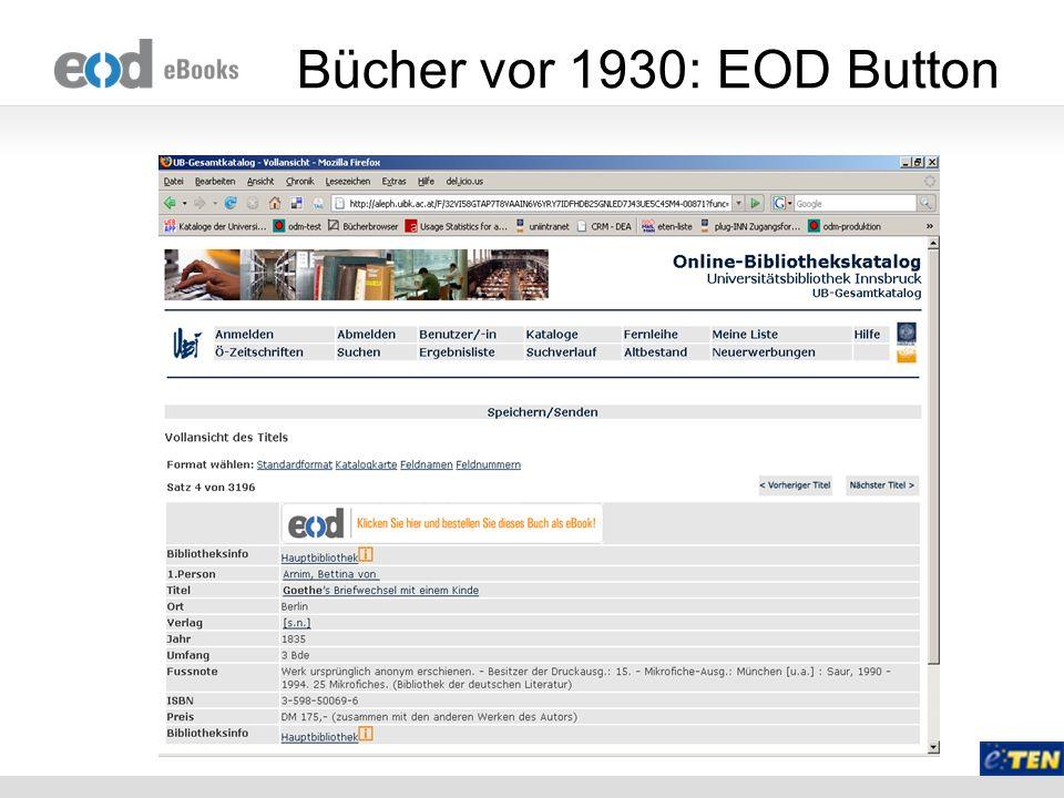 Grundidee Warum nicht die EOD Infrastruktur für die Erstellung von eBooks für Blinde und Sehbhinderte nutzen.