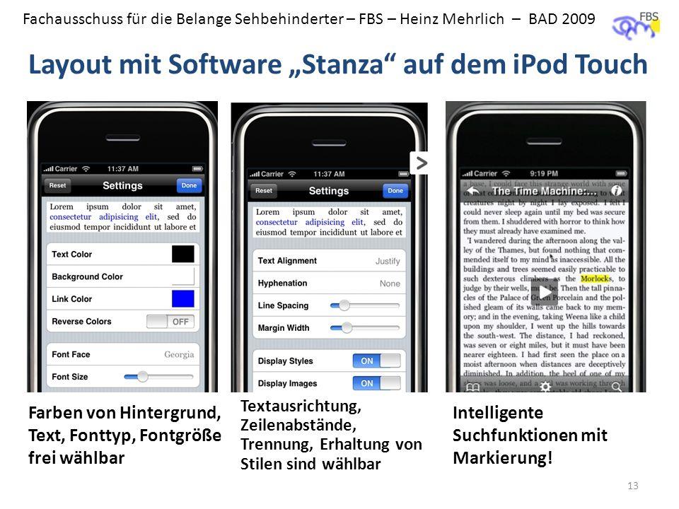 Fachausschuss für die Belange Sehbehinderter – FBS – Heinz Mehrlich – BAD 2009 Layout mit Software Stanza auf dem iPod Touch 13 Farben von Hintergrund