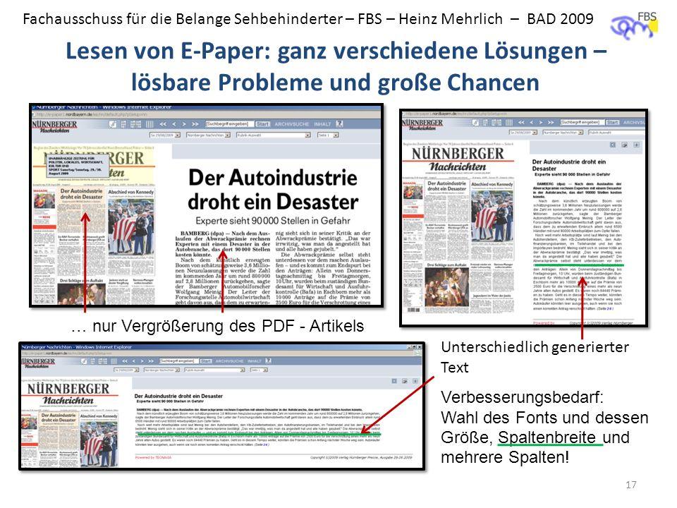 Fachausschuss für die Belange Sehbehinderter – FBS – Heinz Mehrlich – BAD 2009 Lesen von E-Paper: ganz verschiedene Lösungen – lösbare Probleme und gr