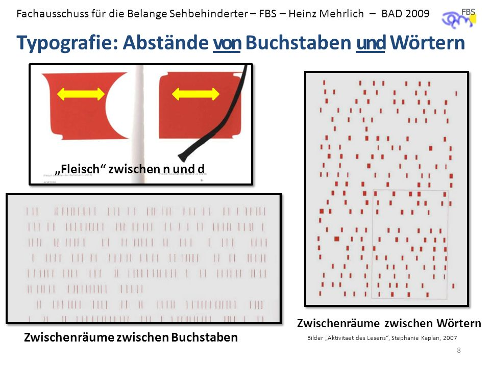 Fachausschuss für die Belange Sehbehinderter – FBS – Heinz Mehrlich – BAD 2009 Typografie: Abstände von Buchstaben und Wörtern 8 Fleisch zwischen n un