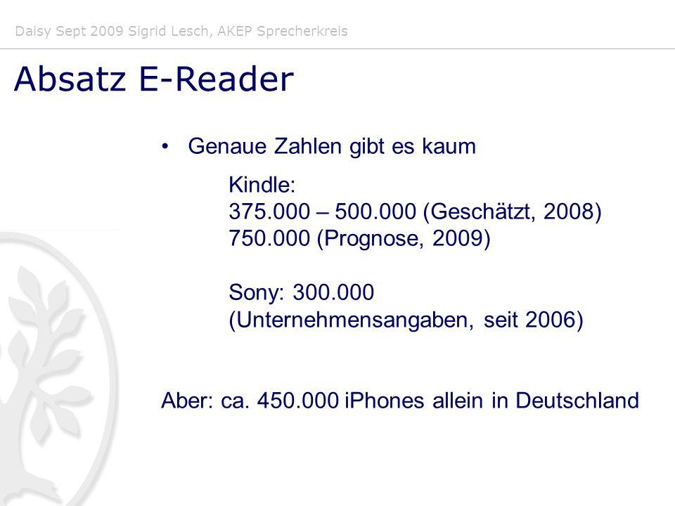 Daisy Sept 2009 Sigrid Lesch, AKEP Sprecherkreis Absatz E-Reader Genaue Zahlen gibt es kaum Kindle: 375.000 – 500.000 (Geschätzt, 2008) 750.000 (Prognose, 2009) Sony: 300.000 (Unternehmensangaben, seit 2006) Aber: ca.