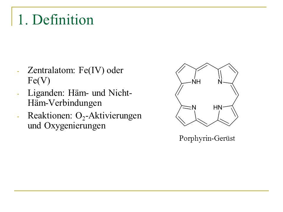 Nicht-Häm-Fe(IV)-Oxo-Komplexe und Liganden Abbreviations: cyclam-acetate: 1,4,8,11-tetraazacyclotetradecane 1-acetate; TMC: 1,4,8,11-tetramethyl-1,4,8,11-tetraazacyclo-tetradecane; TMCS: 1-mercapto- ethyl-4,8,11-trimethyl-1,4,8,11-tetraazacyclotetradecane; TATM: 1,4,7,10-tetramethyl-1,4,7,10-tetraazacyclotridecane; TAPM: 1,4,8,12-tetramethyl-1,4,8,12- tetraazacyclopentadecane; TAPH: 1,4,8,12-tetraazacyclopentadecane; TPA: tris(2-pyridylmethyl)amine; QBPA: (2-quinolylmethyl)bis(2-pyridylmethyl)amine; BPMCN: N,N-bis(2-pyridylmethyl)-N,N-dimethyl-trans-1,2-diaminocyclohexane; N4Py: N,N-bis(2-pyridylmethyl)-N-bis(2-pyridyl)methyl-amine; R-TPEN: N-R-N,N,N-tris(2-pyridylmethyl)ethane-1,2-diamine; Bispidine: 3,7-dimethyl-9,9-dihydroxy-2,4-di(2-pyridyl)-3,7-diazabicyclononane-1,5-dicarboxylate.