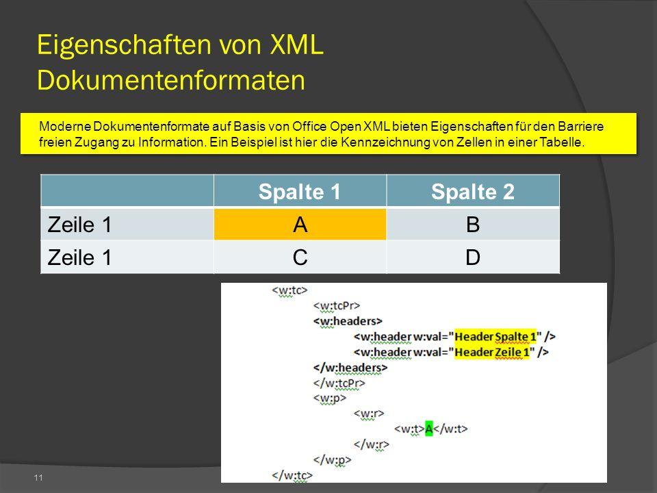11 Eigenschaften von XML Dokumentenformaten Moderne Dokumentenformate auf Basis von Office Open XML bieten Eigenschaften für den Barriere freien Zugang zu Information.
