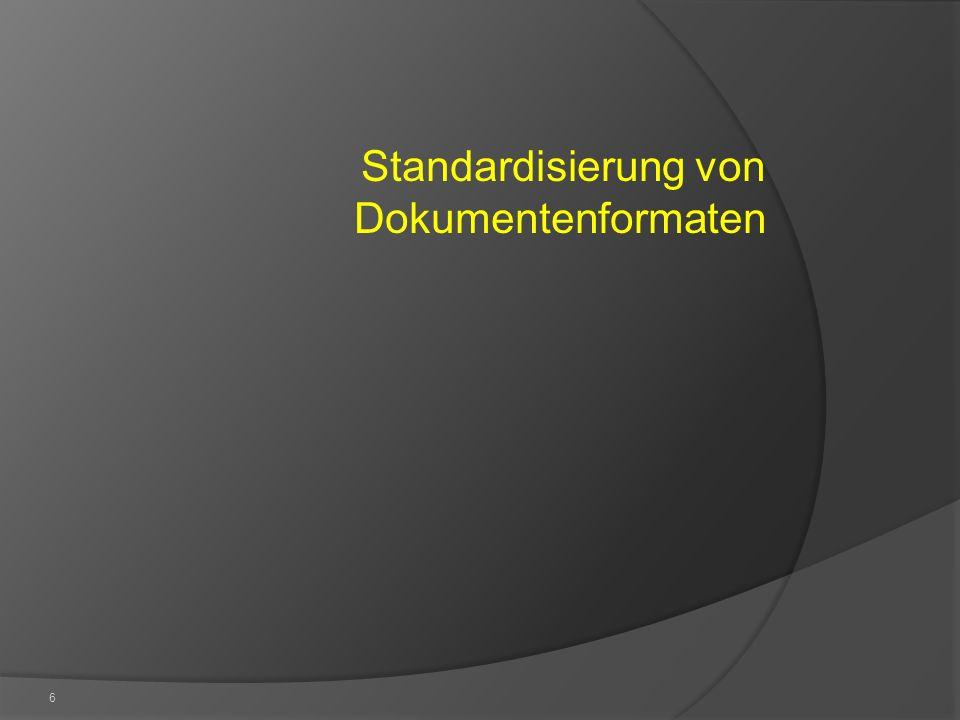 7 Die heute verfügbaren Dokumentenformate sind über verschiedene Konsortien oder formale Standardisierungsgremien verabschiedet und stehen somit als offene Standards zur Verfügung Industriestandards Konsortien wie die Ecma International, OASIS, W3C, Formale Standardisierungsgremien Zeit Konsens Industrie- Standard Konsortial- Standard Formaler Standard Quelle: DIN e.V.