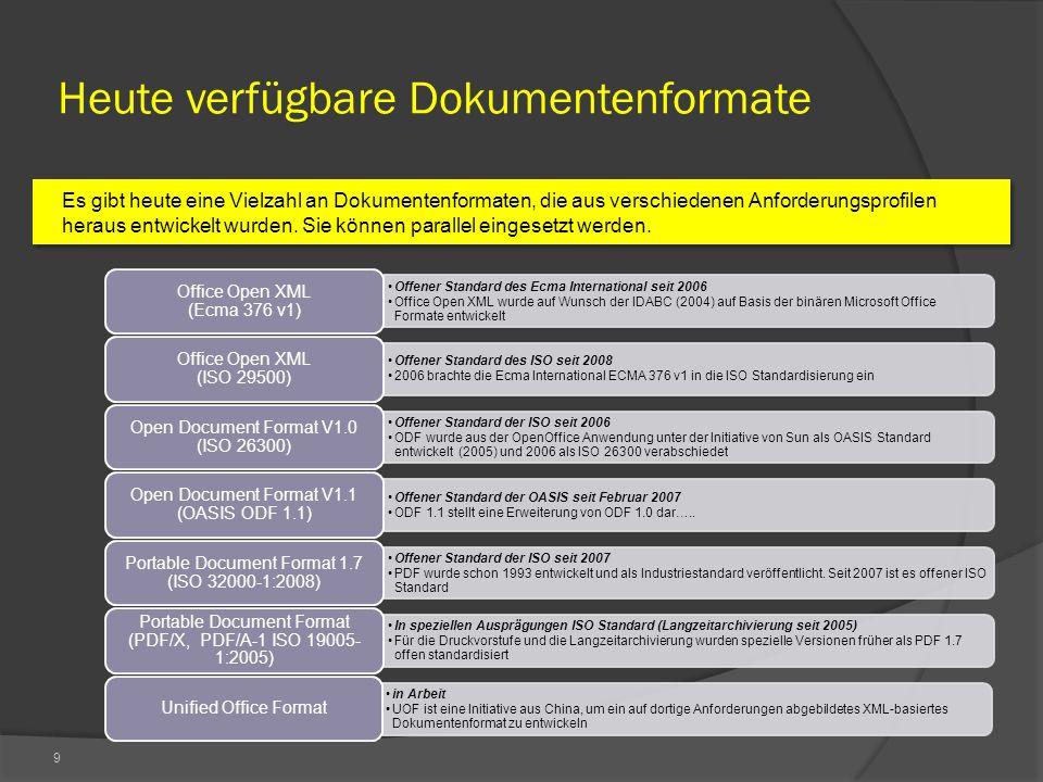 9 Heute verfügbare Dokumentenformate Es gibt heute eine Vielzahl an Dokumentenformaten, die aus verschiedenen Anforderungsprofilen heraus entwickelt wurden.